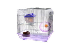 Cage animale vide d'isolement sur le blanc Image stock