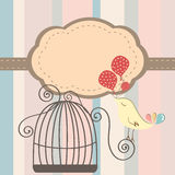 Cage bird invitation. Beautiful background with frame and birdcage, vector illustration Stock Images