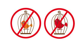 Cage birds prohibited symbol Royalty Free Stock Photo