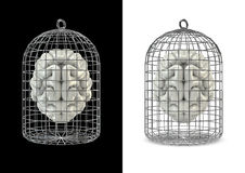 Cage brain. 3D render of human brain in cage Royalty Free Stock Photos