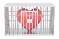 Cage, cellule de prison avec le coeur rouge, 3D illustration stock