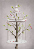 Cage with a cherry tree
