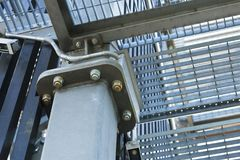 A cage created from platforms. Metal viewtower construction snippet, a cage created from platforms royalty free stock images