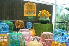 Cage d'oiseau colorée Photo stock