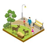 Cage with deers isometric 3D icon. Public zoo with wild animals and people, zoo infrastructure element for design vector illustration Royalty Free Stock Image