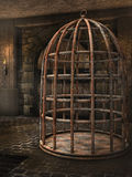 Cage in a dungeon. Old rusty cage in a dungeon stock illustration