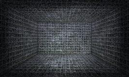 Cage en verre tridimensionnelle, fond intérieur Photos stock