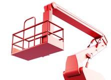 Cage et bras d'un ascenseur mécanique d'isolement sur le fond blanc Image libre de droits