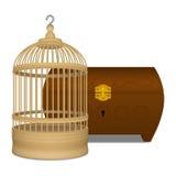 Cage et cercueil en bois Photo stock