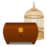 Cage et cercueil en bois Images stock