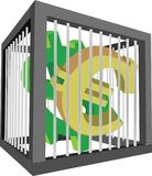 Cage with euro and dollar symbols Stock Photos