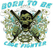 Cage fighter. Vector illustration ideal for printing on apparel clothes Stock Image