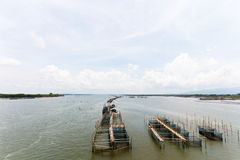 Cage fish farming in the river Stock Images