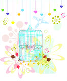 Cage with flowers and bird over white Stock Photo