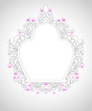 Cage ornament with grey line and pink birds Royalty Free Stock Photos