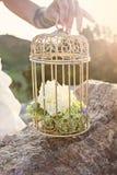 Cage pour des oiseaux avec des fleurs décor Images stock