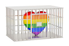 Cage, prison cell with gay heart rainbow, 3D rendering Stock Image