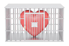 Cage, prison cell with red heart, 3D Stock Photo