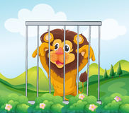 A cage with a wild lion Royalty Free Stock Photos
