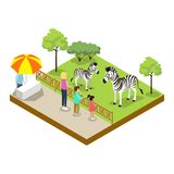 Cage with zebras isometric 3D icon. Public zoo with wild animals and people, zoo infrastructure element for design vector illustration Stock Photography