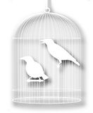 Caged birds cutout. Editable  illustration of a pair of caged myna birds with background shadow made using a gradient mesh Stock Image