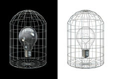 Caged bulb. 3D render of lightbulb in cage Royalty Free Stock Images