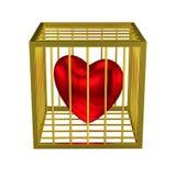 Caged guld- bur för hjärta Arkivfoto