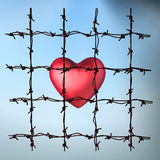 Caged heart. 3d illustration of a caged heart on light background Stock Images