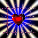 Caged heart. 3d illustration of a caged heart on dark background Stock Image