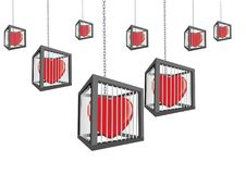 Cages with closed hearts hanging.  vector illustration