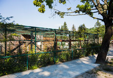 Cages in a zoo. Bird cages in a private Feldman Ecopark Zoo in Kharkov, Ukraine Royalty Free Stock Images