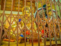 Caging preserves precious relics in Buddhist centre Royalty Free Stock Image