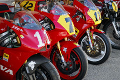 Cagiva GP 500 Mortorcycles. Jarama Vintage Festival 2011. Madrid Stock Images