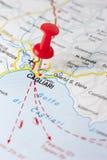 Cagliari auf der Karte Stockfotos