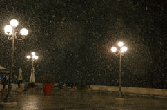 Cagliari in December during the night under the snow in the uppe Stock Photography