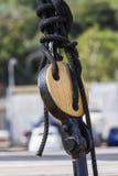 Cagliari: detail van een zeilboot Stock Afbeeldingen