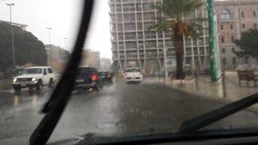 Cagliari, Itália - 1º de outubro: Inundação através das ruas do c Fotos de Stock Royalty Free