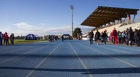 CAGLIARI, ITALIË - December 7, 2014: 7 ^ Halve Marathon - Herdenkingsdelio Serra Royalty-vrije Stock Fotografie