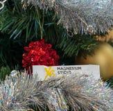 CAGLIARI, ITALIË - DECEMBER 2018: XS het magnesiumstok van de sportvoeding op een Kerstmisboom Natuurlijke Nutrilite en veganists royalty-vrije stock foto