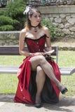 CAGLIARI, ITALIË - Juni 1, 2014: Zondag bij La Grande Jatte, openbare tuinen - Sardinige Stock Afbeelding