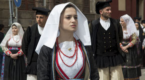 CAGLIARI, ITALIË - Mei 1, 2013: 357 ^ Godsdienstige Optocht van Sant'Efisio - Sardinige Stock Foto's