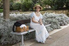 CAGLIARI, ITALIË - OKTOBER 20, 2013: Zondag bij La Grande Jatte bij de openbare tuinen Stock Foto's