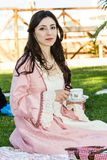 Portrait in Victorian costume. CAGLIARI, ITALIA - GIUGNO 1, 2014: Victorian steampunk themed picnic that welcomes thousands of visitors each year to the public royalty free stock image