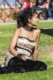 CAGLIARI Italien-JUNI 1, 2014: söndag på La stora Jatte, offentliga trädgård-Sardinia Royaltyfria Bilder