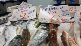 Cagliari, Italien - 22. März 2017: Traditioneller Fischmarktstall Stockfoto