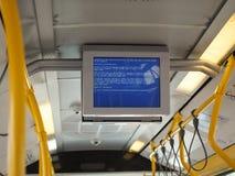 Error message on bus in Cagliari. CAGLIARI, ITALY - CIRCA SEPTEMBER 2017: Windows computer error message on public transport bus stock images