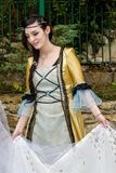 Portrait in Victorian costume. CAGLIARI, ITALY - JUNE 1, 2014: Sunday at the Grande Jatte in the public gardens - Sardinia royalty free stock image