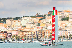 Cagliari, Italy, March 8 2015:. Luna Rossa Prada team is training for American's Cup in the Gulf of Cagliari royalty free stock photos