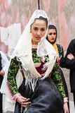 Parade in Sardinian traditional costume Royalty Free Stock Image