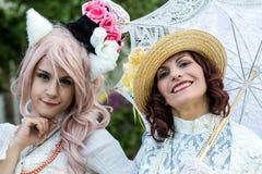 Portraits in Victorian costume. CAGLIARI, ITALY - MAY 29, 2016: Sunday at the Grande Jatte VIII Ed., At the Giardini Pubblici - Sardegna royalty free stock photo